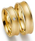 Marrying 585 Gelbgold, 6,00 mm Breite, sandmatt / poliert, 1 Brillant 0,03 ct. TW/SI,