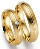 Marrying 585 Gelbgold, 5,00 mm Breite, seidenmatt/ poliert, 1 Brillant 0,05 ct. TW/SI,