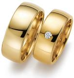 Marrying 585 Gelbgold, 8,00 mm Breite, poliert, 1 Brillant 0,08 ct. TW/SI,