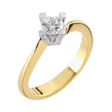 Marrying 585 Weissgold / Gelbgold, massiv Breite, poliert, 1 Brillant 0,25 ct. TW/SI,