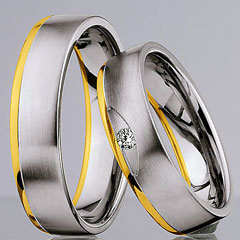 585 Weiss-Gelbgold, seidenmatt / poliert,  Nowotny-Collection Ruesch White gold yellow gold Marryring