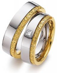 585 Weissgold , poliert mit Muster,  August Gerstner White gold yellow gold Marryring