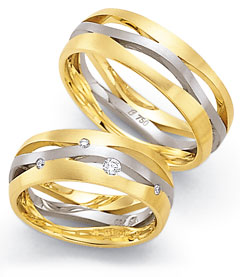 585 Weiss , seidenmatt,  Fischer White gold yellow gold Marryring