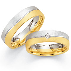 585 Gelbgold , seidenmatt,  Fischer White gold yellow gold Marryring