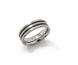 Titanium Ring Black Enamel Inlay 0101-17