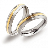 Partner rings titanium gold plated 0131-02 + 0131-04