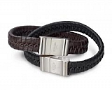Brown leather strap and black 0356-01 + 0356-02 / 21 cm