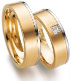 Marrying 585 Weiss-Rosegold, 6,00 mm Breite, seidenmatt / poliert, 1 Princess - Diamant 0,16 ct TW/VVSI,