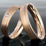 Marrying 950 Platin /750 Rosegold, 5,00 mm Breite, seidenmatt, 1 Brillant 0,055 ct TW/SI,